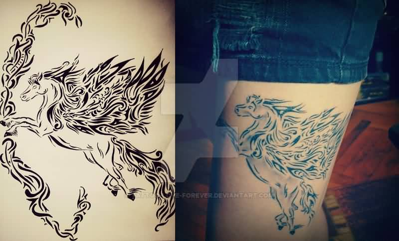 Flying Nice Pegasus Tattoo On Thigh Design With Stencil