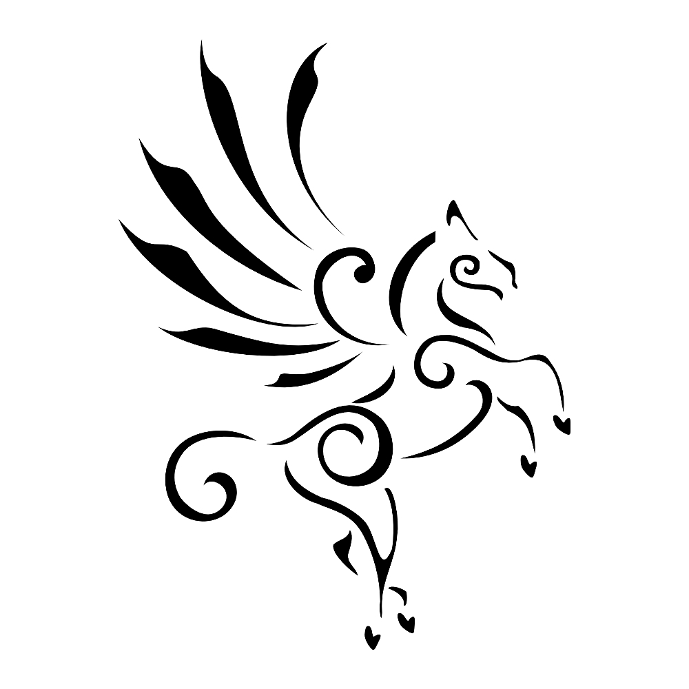 Flying Nice Tribal Style Pegasus Tattoo By Black Ink