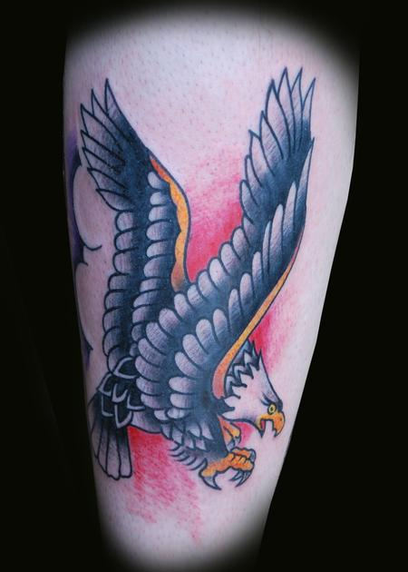 Flying Old School Nice Eagle Tattoo
