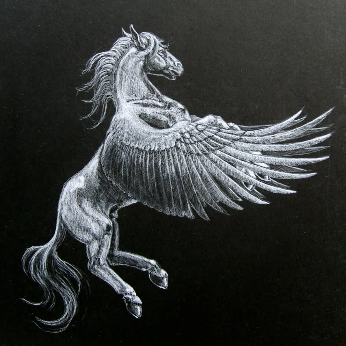 Flying Pegasus Tattoo Design Idea Stencil