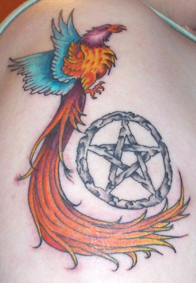 Flying Phoenix With Nice And Simple Pagan Tattoo Of Star Symbol