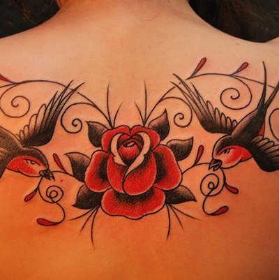 Flying Swallows With Nice Red Rose Old School Tattoo