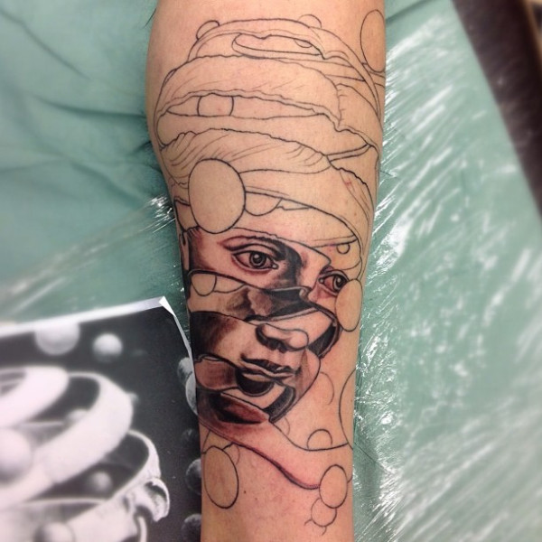 Forearm Amazing Escher Illustion Rind Tattoo
