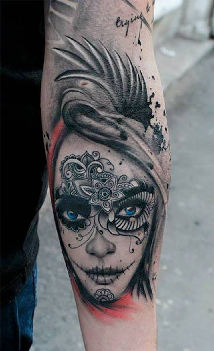 Forearm Amzing And Nice Catrina Tattoo