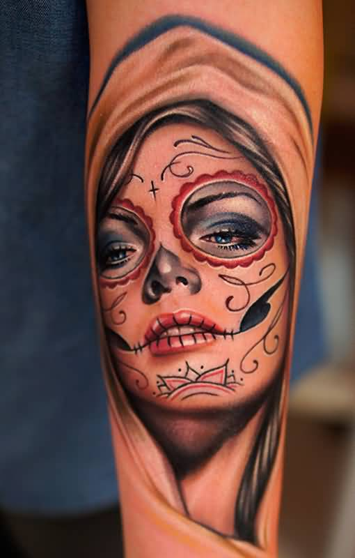 Forearm Awesome And Nice Catrina Tattoo