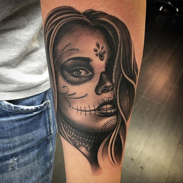 Forearm Cover Up With Attractive Catrina Girl Face Tattoo