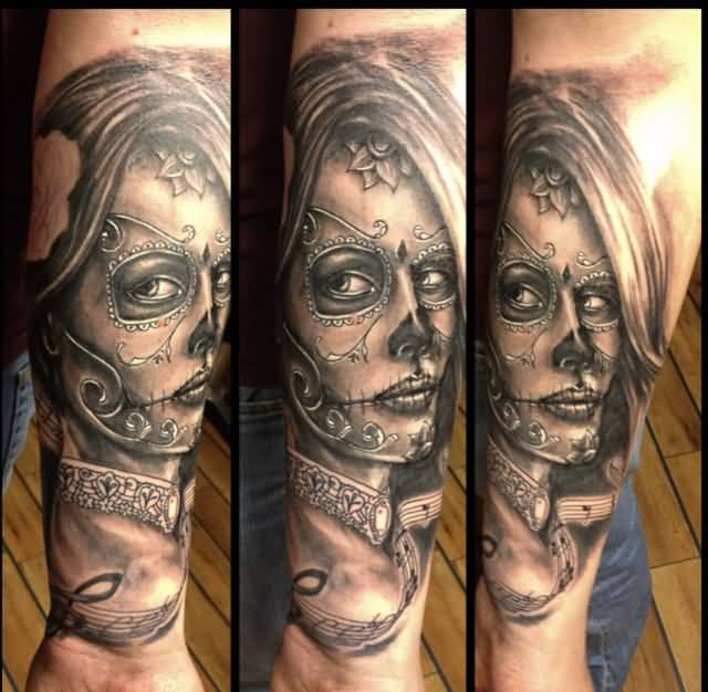 Forearm Design With Music Notes And Catrina Girl Face Tattoo