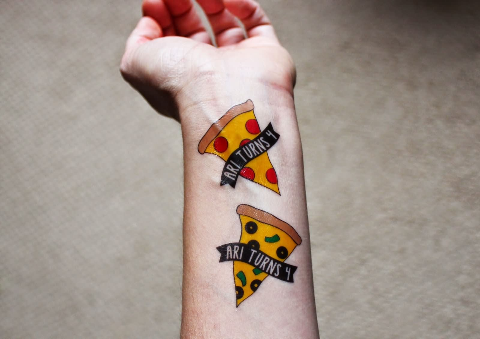 Forearm Lower Sleeve Nice Banner Pizza Tattoo