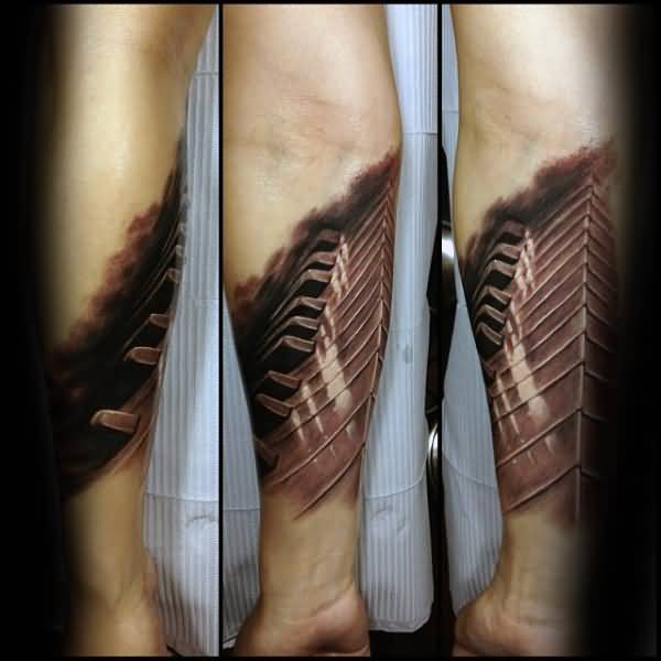 Forearm Lower Sleeve Realistic And Awesome 3D Piano Tattoo