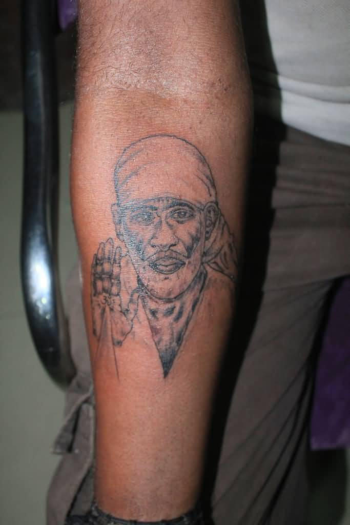 Forearm Lower Sleeve Sai Baba Tattoo Of Face