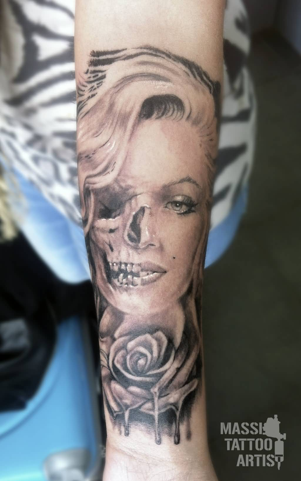 Forearm Marilyn Monroe Skull And Rose Tattoo