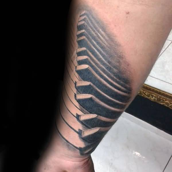 Forearm Nice Piano Keys Tattoo Design Idea