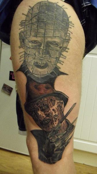 Freedy And Pinhead Face Tattoo Design Idea Make On Thigh