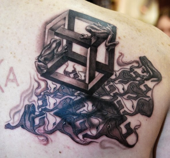 Frogs On Escher Cube Tattoo Design On Upper Back