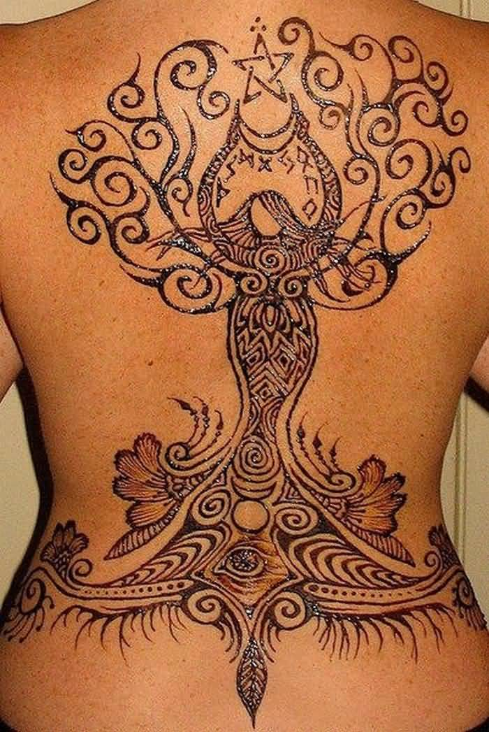 Full Back Amazing And Nice Pegan Tree With God Tattoo