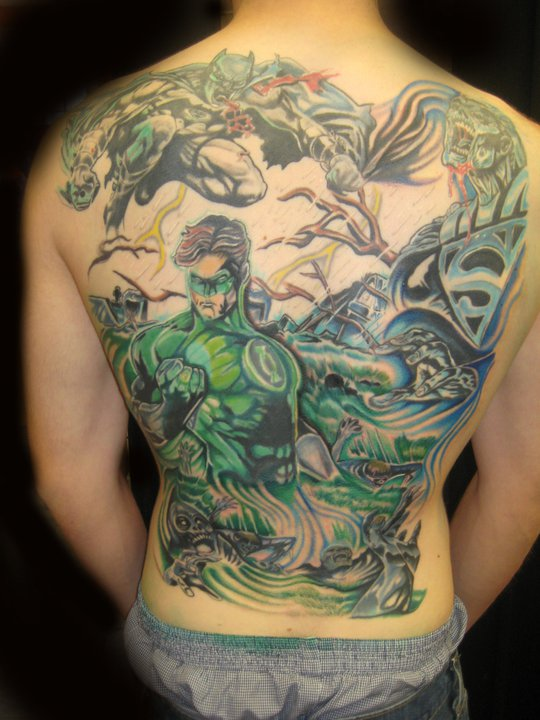 Full Back Amazing Lantern Men With Batman Tattoo