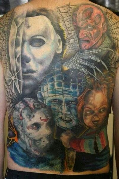 Full Back Amazing Pinhead With Faces Tattoo Design With Spiders