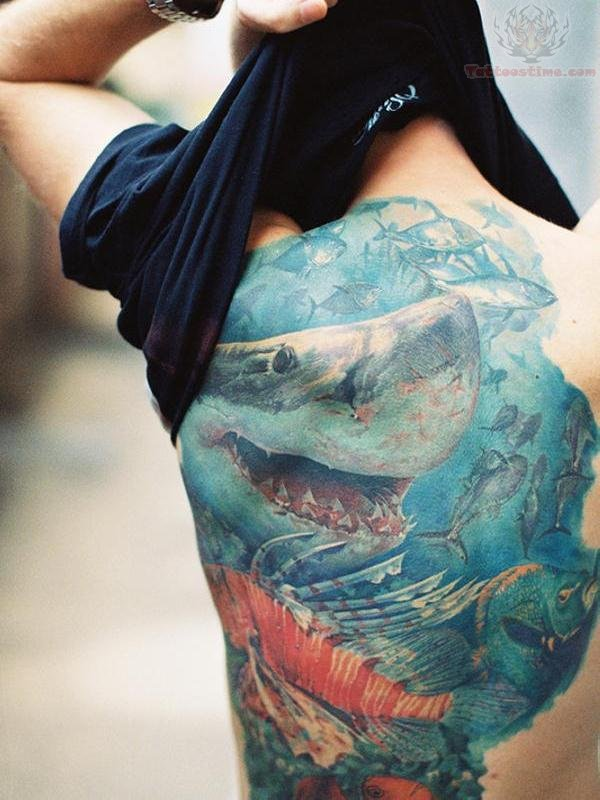 Full Back Amazing Sea Creature Shark Fish Tattoo