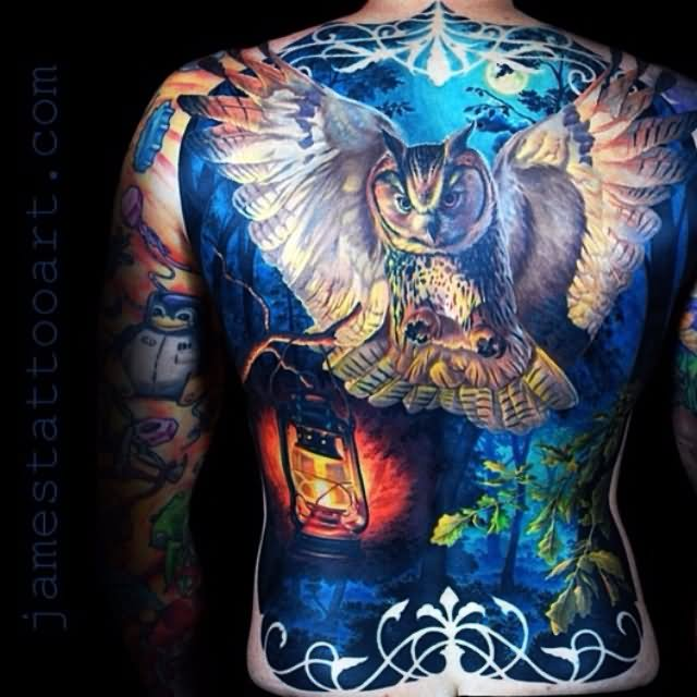 Full Back Awesome Owl And Lantern Tattoo
