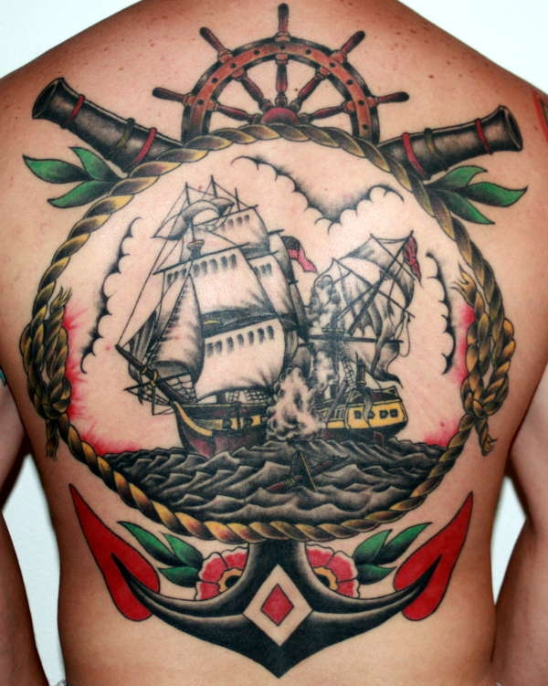 Full Back Big Anchor Navy Ship Whell Tattoo