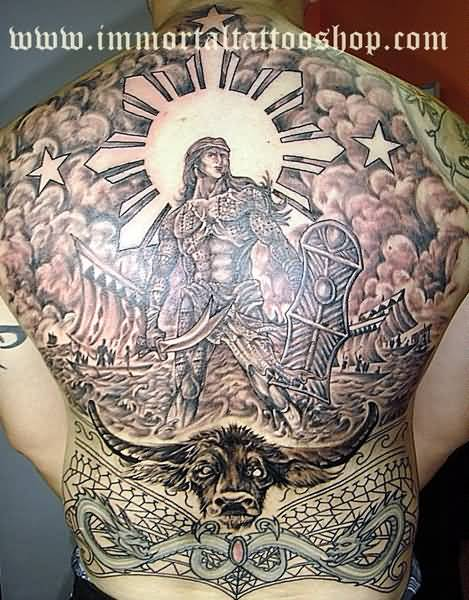 Full Back Bull HEad And Filipino Warrior With Sun And Star Tattoo