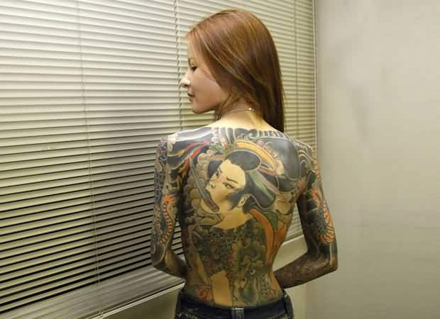 Full Back Extreme Good Geisha Girl Tattoo