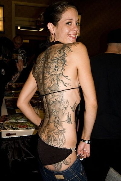 Full Back Hot Extreme Tattoo For Girl