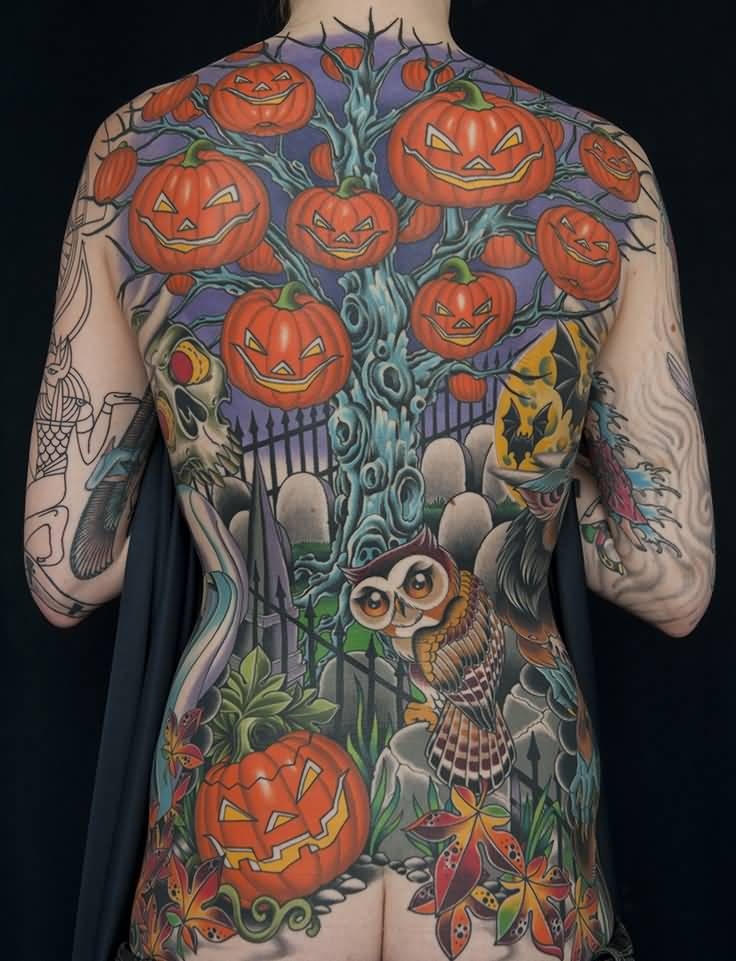 Full Back Jack O Lantern Tattoo Design With Flying Owl
