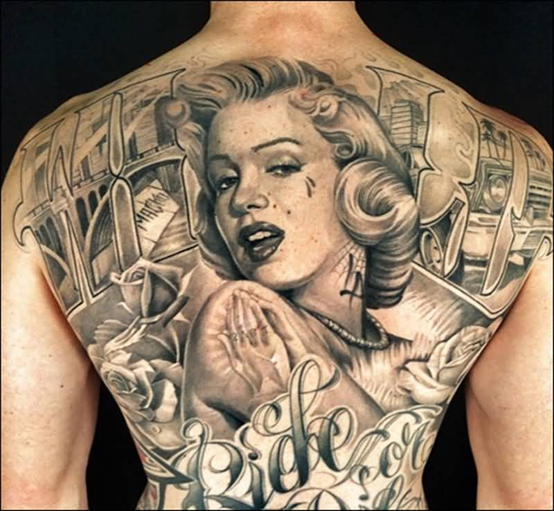 Full Back Nice And Amazing Marilyn Monroe Tattoo Design