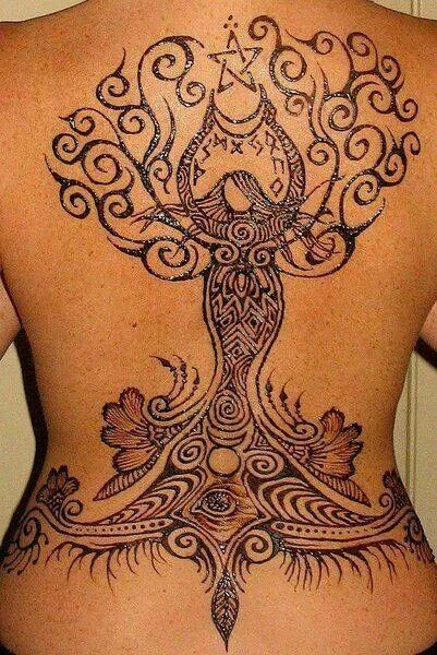 Full Back Nice Eye With Pegan Tree With Nice Symbol Tattoo