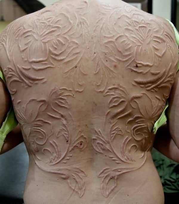 Full Back Nice White Ink Scarification Flower Tattoo