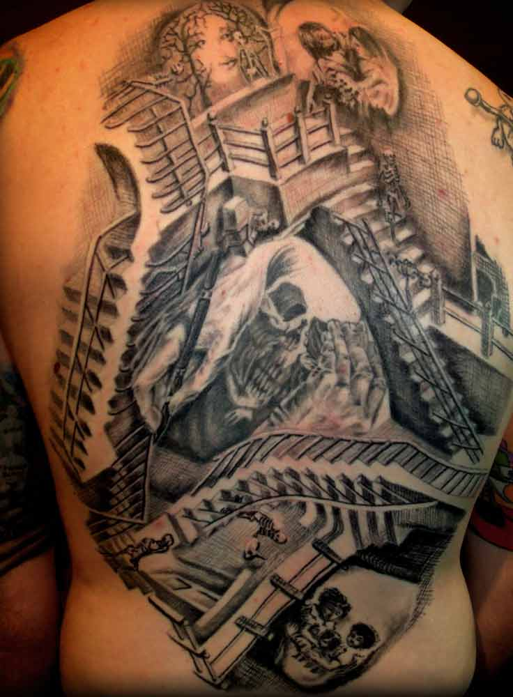 Full Back Surrealism Escher Skull And Stairs Tattoo