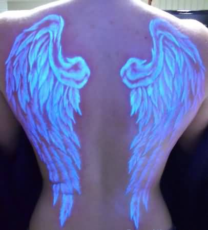 Full Back With Awesome Scarification Angel Wings Tattoo