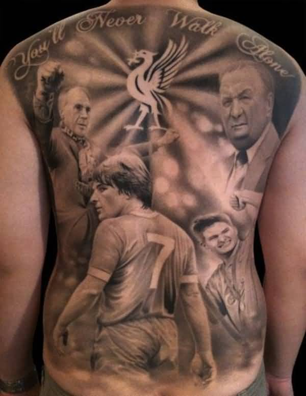 Full Back With Realistic Football Portrait Theme Tattoo