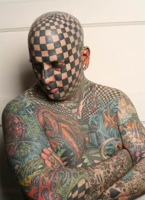 Full Body Simple Extreme Tattoo For Men