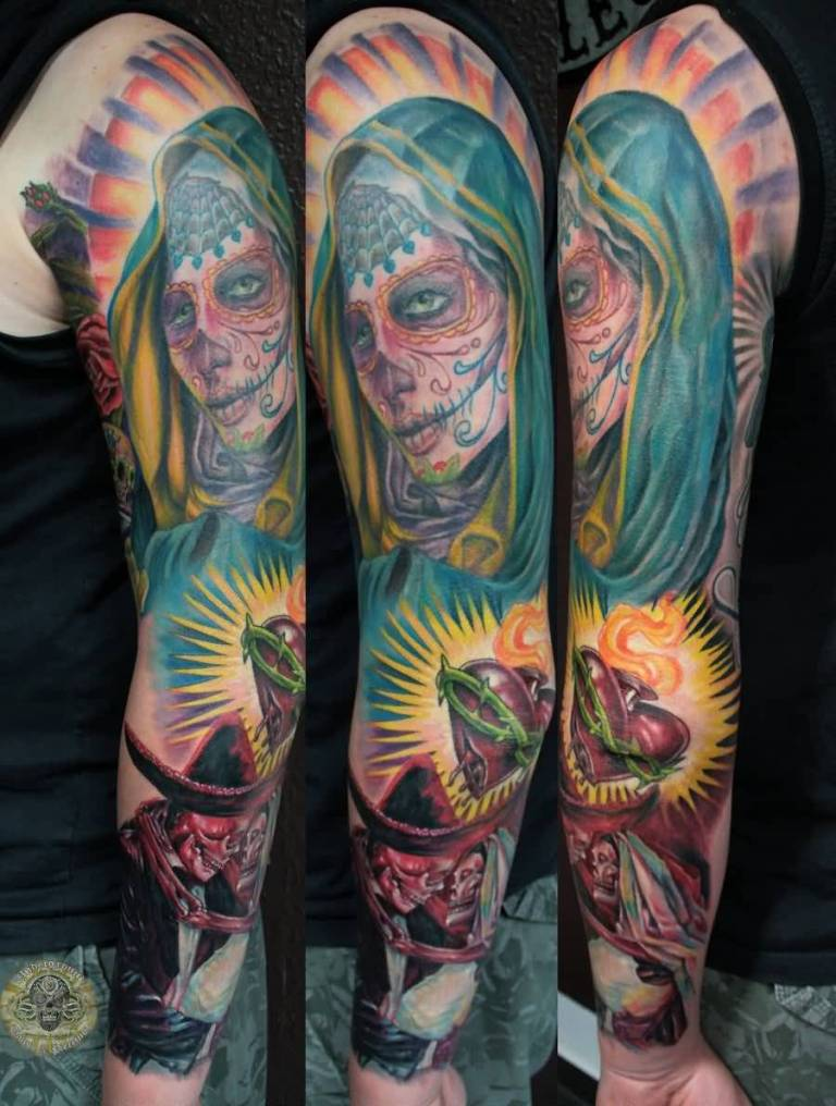 Full Sleeve Amazing And Nice Catrina Girl Tattoo