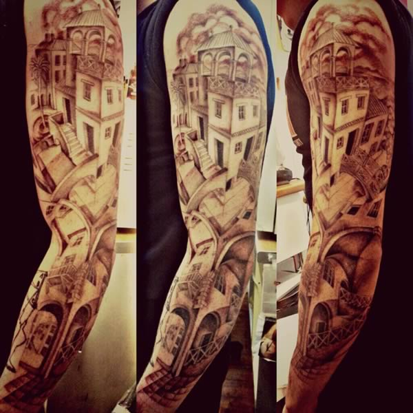 Full Sleeve Amazing Escher House Tattoo