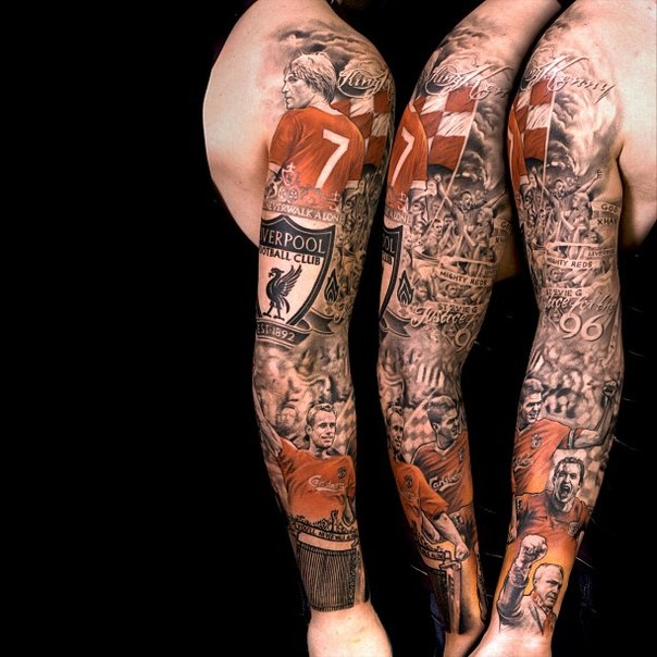 Full Sleeve Amazing Football Players And Logo Tattoo