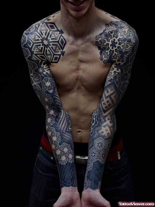 Full Sleeve Amazing Geometric Extreme Tattoo