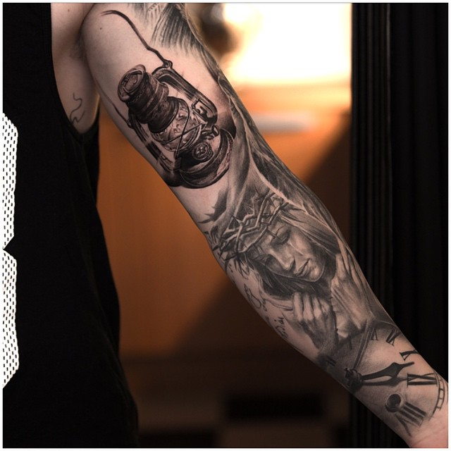 Full Sleeve Amazing Lantern Tattoo Of Face And Clock