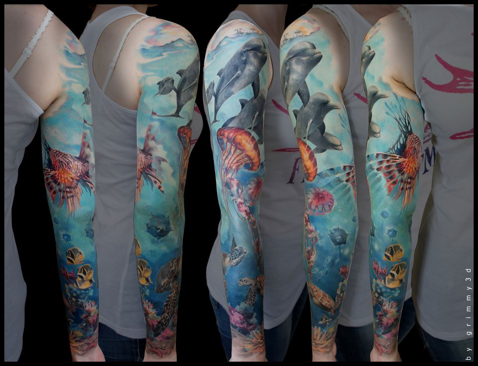 Full Sleeve Amazing Sea Creature Tattoo
