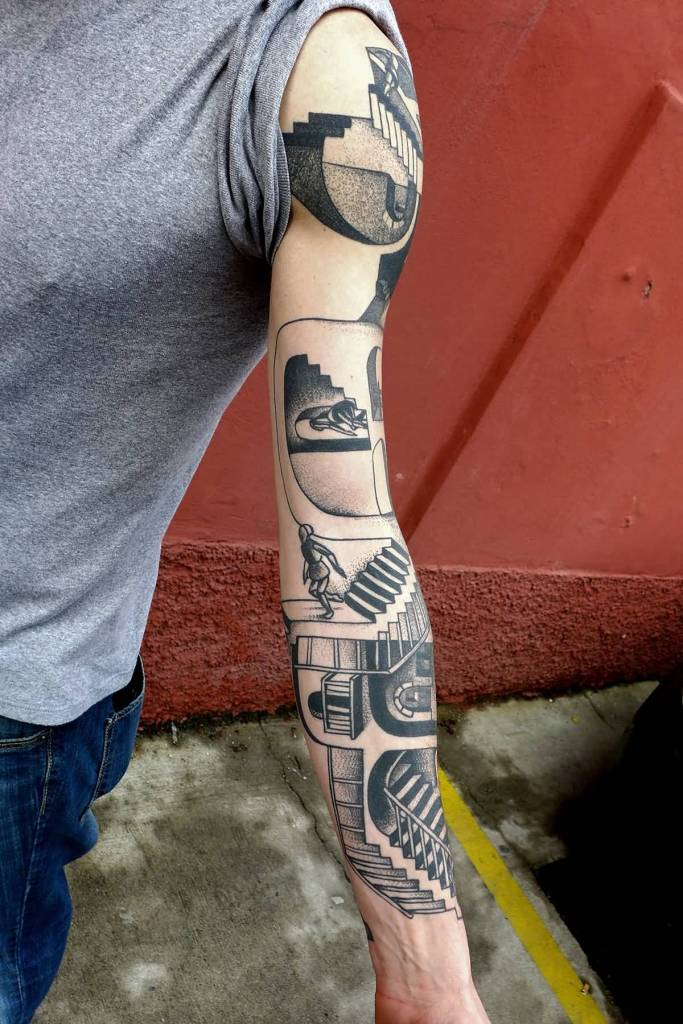 Full Sleeve Amazing Simple Escher Tattoo