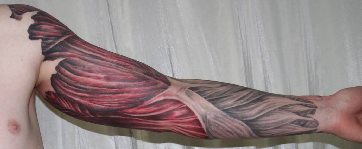 Full Sleeve Design With Muscles Tattoo Idea