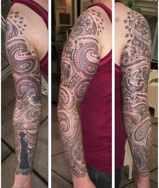 Full Sleeve Design With Paisley Pattern Tattoo