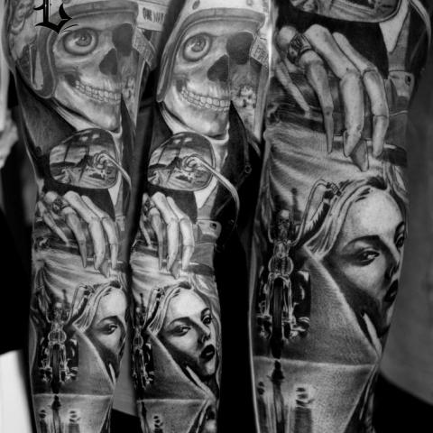 Full Sleeve Latino Girl Face And Skull With Hand Tattoo