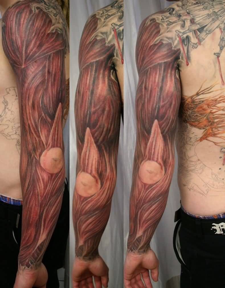 Full Sleeve Muscles Tattoo Design Idea