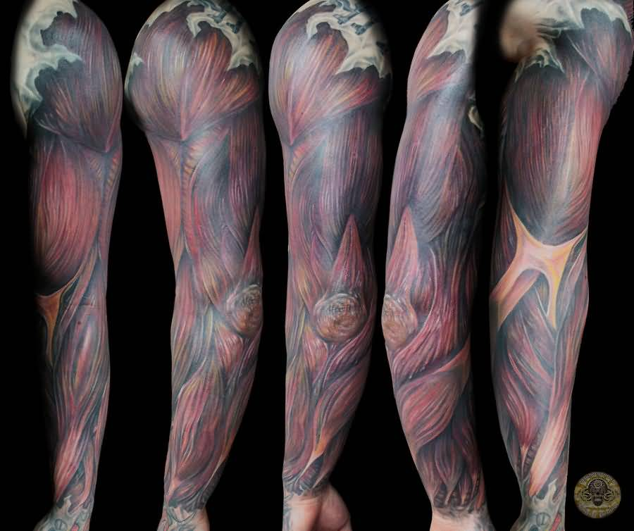 Full Sleeve Muscles Tattoo Design