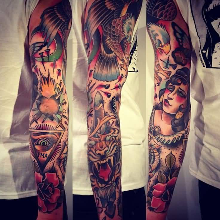 Full Sleeve Nice And Amazing Old School Triangle Eye With Daggers In Heart Tattoo