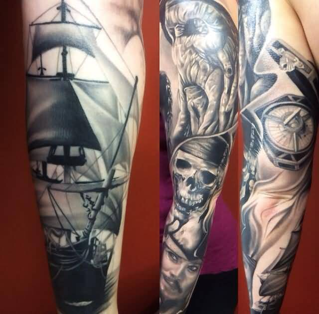Full Sleeve Nice Pirates Of The Caribbean Ship With Skull By Levi Barnett