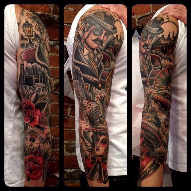 Full Sleeve Old School Girl Face And Red Rose American Tattoo